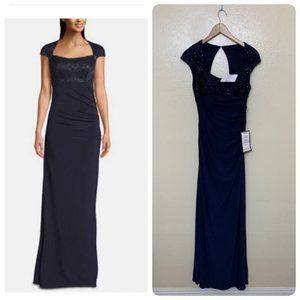 Betsy & Adam Embellished-Top Cap-Sleeve Gown Sz 6